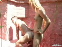 Outdoor shemale hot action