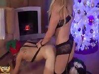 Hot shemale fucking her partner in Santa costume