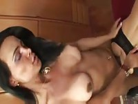 Hot slut getting fucked by shemale