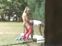 Shemale having sexual activity with her boyfriend in open ground
