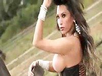 Shemale enjoying nude horse riding