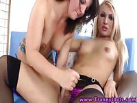 Shemale getting licked her cum by her friend