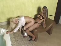 Ladyboy fucks a horny blondie