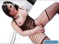 Horny brunette tranny in lingerie