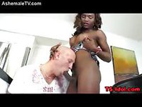 Ebony chick with dick sucking a white dick