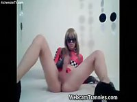 Blonde tgirl spreads her legs for play