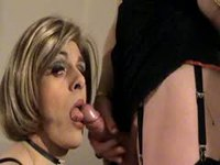 Horny transvestite sucking on tranny cock