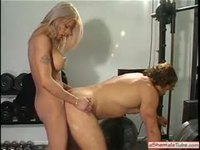 Bitchy blonde Tranny riding a dick