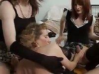 Mature amateur Tgirls fuck bareback in hot threesome