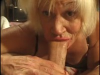 Ugly old tranny deepthroating cock and swallowing cum