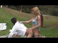 Cute shemale mounts her boyfriend while camping