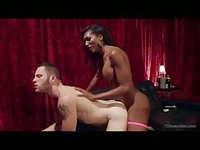 Black tranny in pink stringy stockings shows what happens behind the curtains with white man