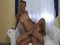 Stunning blonde teen is fucked hard by sexy tranny