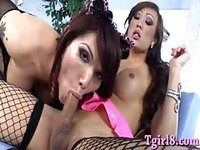 Asian Tgirls sucking and fucking each other