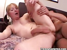 Cute tranny with pigtails taking a hard anal pounding