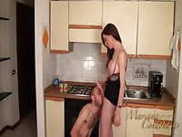 Leggy shemale getting her hard cock sucked in the kitchen