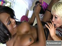 Sexy young black tranny loves getting her cock sucked by sluts