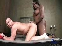 Big black Tgirl spreads guys legs and slams his ass with her fat cock