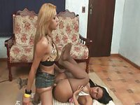 Tan dark haired babe gets her ass destroyed by blonde shemale