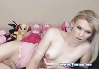 Blonde Shemale Jerking Her Big Dick on Cam