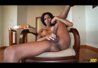 Fit ebony transsexual amateur jerking her cock and spreading