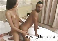 Leggy transsexual with a large dick banging a skinny guy