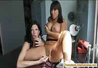 Curious brunette MILF taking on a transsexual cougar