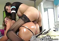 Hot young fresh-faced slut sucking and getting fucked by a transsexual