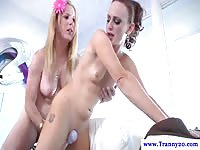 Tattooed shemale using a vibrator on a skinny slut before she's blown