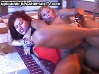 Big breasted ebony shemales enjoying an anal sex romp