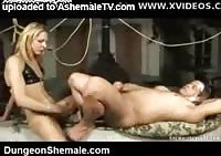 Willing guy in BDSM restraints punished and anal fucked by a shemale