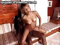 Petite white slut spreads her legs for her first hardcore pussy fucking from an ebony shemale