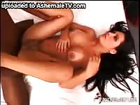 Once innocent fresh-faced transsexual girl getting anal rammed by a black stud with a big dick