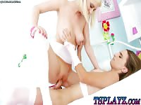 Pretty and petite blonde never before seen coed gets her tiny cunt penetrated by tranny cock