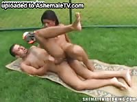Flexible brunette transsexual cougar banging some dudes ass in this amateur shemale video