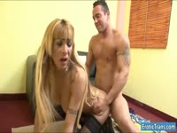 Tanned hunk with a craving for shemale ass goes balls deep in transsexual hottie Celeste