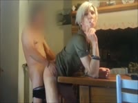 Loose skinny blonde transsexual Chloe Anatomik fucked over the table in this homemade movie