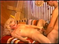 Dawn Avalon treats a lucky cowboy to his first hardcore transsexual sex experience in this video