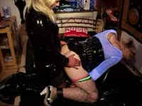 Willing shemale slut Denise Love enjoys being placed in BDSM restraints and ass fucked