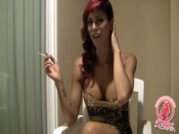 Up close and personal interview with young transsexual slut Domino Presley while smoking