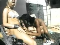 Sensational young sex freak Duda Little getting her tranny cock sucked by an ebony shemale