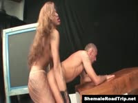Delightful well-endowed transsexual MILF Mirella screwing a skinny dude deep in his tight ass