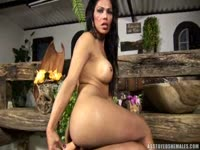 Delightful deep solo anal probing movie featuring brunette mature transsexual Suzanny Araujo