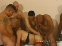 Group of lucky curious men banging loose transsexual slut Tina Linaves in this dirty gangbang