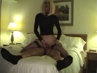 Flexible blonde amateur shemale cougar Vanessa shows how flexible she is while riding dick