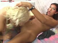 Beautiful never seen before blonde young coed pussy fucked by hung shemale Violeta Rojas