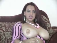 Huge melons and a juicy cock on display as mature transsexual Vo D Balm works her stiff dick