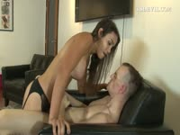 Excited boyfriend wildly jerks his stiff cock while bodacious shemale brunette plows his hole