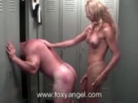 Powerful blonde transsexual blonde babe shows no mercy as she ass fucks a muscular dude
