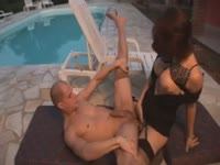 Curious older man welcomes his first anal pounding with tall seductive shemale slut in this vid